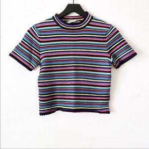 Zara | Multicolored Striped Knit Short Top S